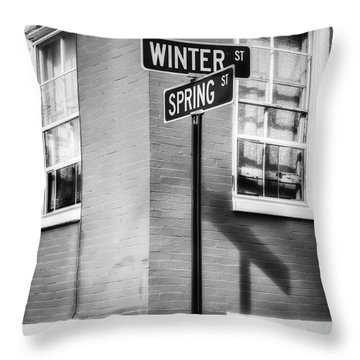 The Corner Of Winter And Spring Bw Throw Pillow