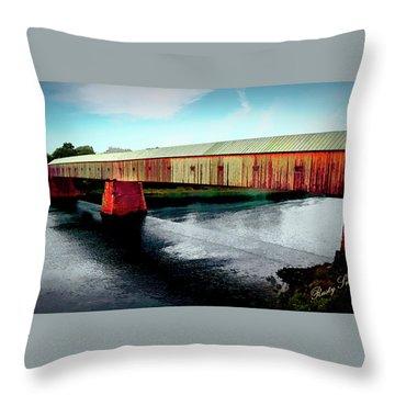 The Cornish-windsor Covered Bridge  Throw Pillow