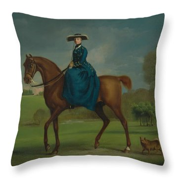 The Countess Of Coningsby In The Costume Of The Charlton Hunt Throw Pillow
