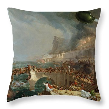 The Course Of Empire - Destruction Throw Pillow
