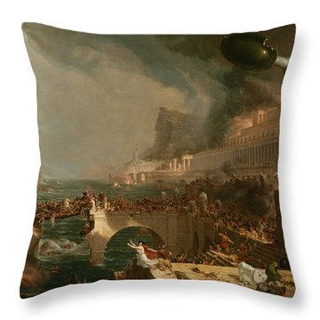 Throw Pillow featuring the painting The Course Of Empire Destruction by Thomas Cole