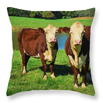 The Cow Girls Throw Pillow