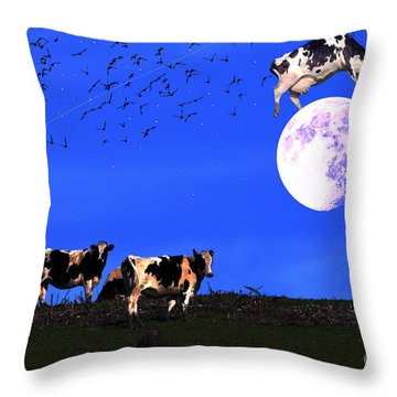 The Cow Jumped Over The Moon Throw Pillow