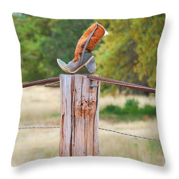 The Cowboy Boot Throw Pillow by Donna Greene