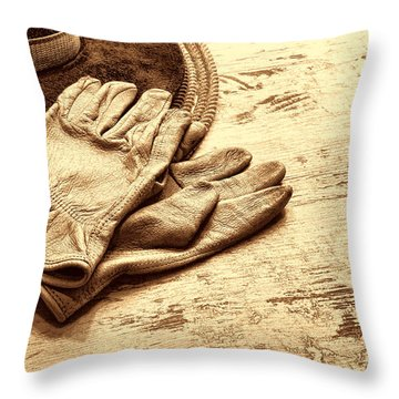 The Cowboy Gloves Throw Pillow