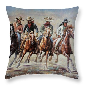 Throw Pillow featuring the painting The Cowboys by Harvie Brown