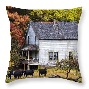 The Cows Came Home Throw Pillow by Debra and Dave Vanderlaan