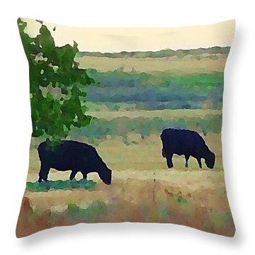 The Cows Next Door Throw Pillow