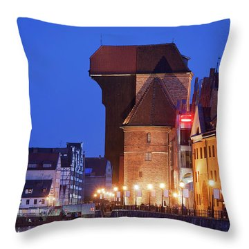 The Crane In Gdansk By Night Throw Pillow