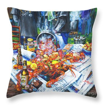 The Crawfish Boil Throw Pillow