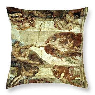 The Creation Of Adam Throw Pillow by Michelangelo
