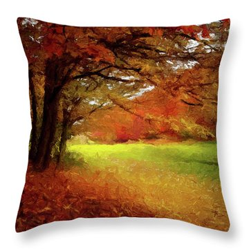 Throw Pillow featuring the painting The Crimson Season P D P by David Dehner