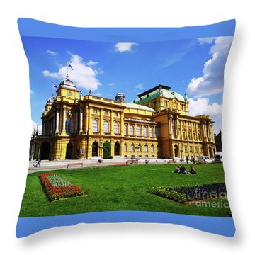 The Croatian National Theater In Zagreb, Croatia Throw Pillow by Jasna Dragun