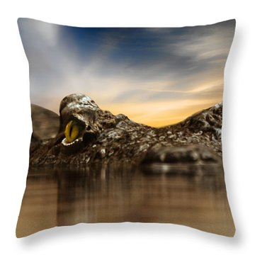 Throw Pillow featuring the photograph The Crocodile by Christine Sponchia