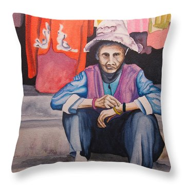 Throw Pillow featuring the painting The Crone by Teresa Beyer