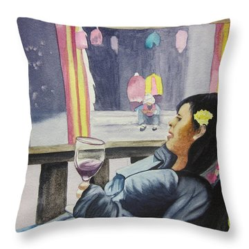 Throw Pillow featuring the painting The Crones Blessing by Teresa Beyer