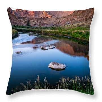 The Crooked River Runs Through Smith Rock State Park  Throw Pillow