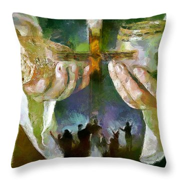 The Cross And The Feast Throw Pillow