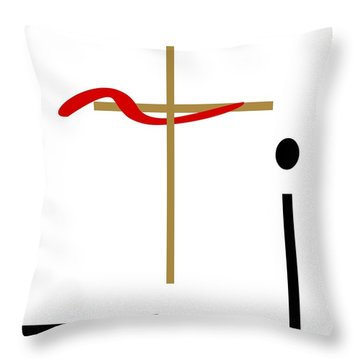 Throw Pillow featuring the mixed media The Cross by Jessica Eli