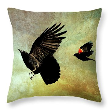 The Crow And The Blackbird Throw Pillow by Peggy Collins