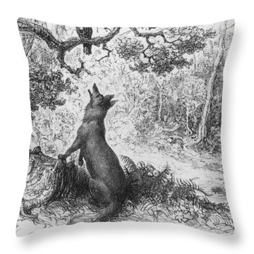 The Crow And The Fox Throw Pillow by Gustave Dore