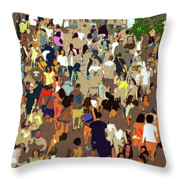 Throw Pillow featuring the painting The Crowd by David Lee Thompson
