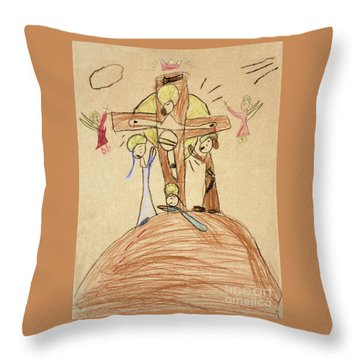 Throw Pillow featuring the drawing The Crucifixion By Fr. Bill At Age 5 by William Hart McNichols