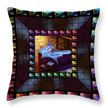 Throw Pillow featuring the sculpture The Crystal Shell - Illuminated by Shawn Dall
