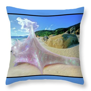 Throw Pillow featuring the sculpture The Crystalline Rainbow Shell Sculpture by Shawn Dall