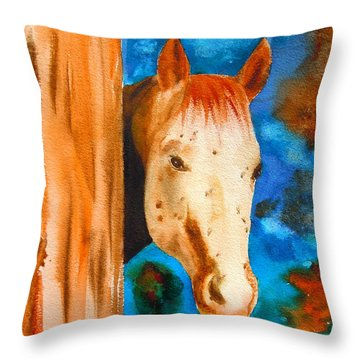 The Curious Appaloosa Throw Pillow by Sharon Mick