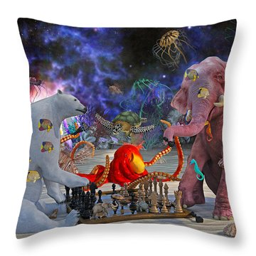 The Curious Game Throw Pillow by Betsy Knapp