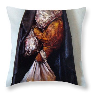 The Curtain Throw Pillow by Nancy Mueller
