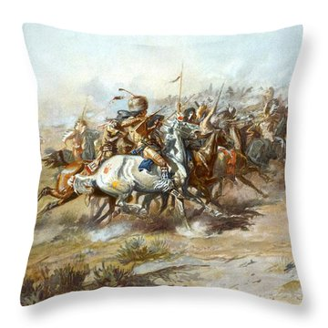 The Custer Fight Throw Pillow by Charles Russell