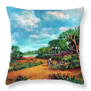 Throw Pillow featuring the painting The Cycle Of Life by Randol Burns