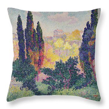 The Cypresses At Cagnes Throw Pillow by Henri-Edmond Cross
