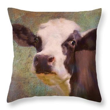 Throw Pillow featuring the mixed media The Dairy Queen by Colleen Taylor
