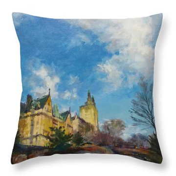 The Bridle Path, Central Park Throw Pillow
