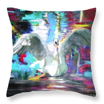The Dance Of The Swan Throw Pillow by Marie-Line Vasseur