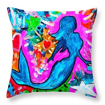 The Dancing Mermaid Throw Pillow