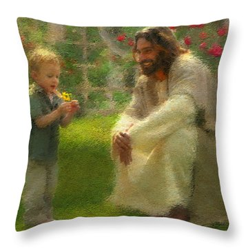 Throw Pillow featuring the painting The Dandelion by Greg Olsen