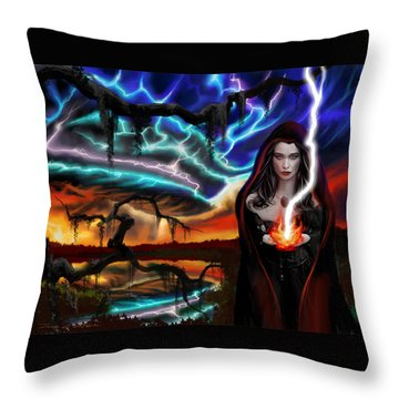 The Dark Caster Calls The Storm Throw Pillow by James Christopher Hill