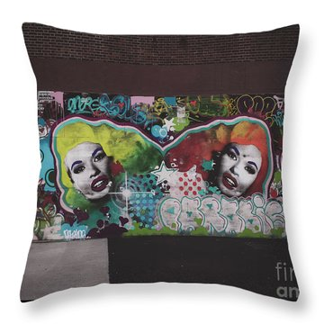 Throw Pillow featuring the photograph The Dark Side -  Graffiti by Colleen Kammerer