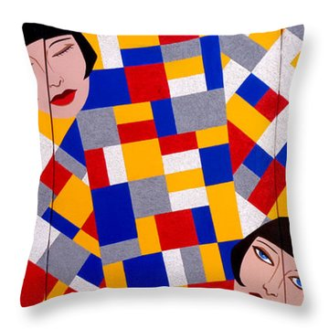 The De Stijl Dolls Throw Pillow by Tara Hutton