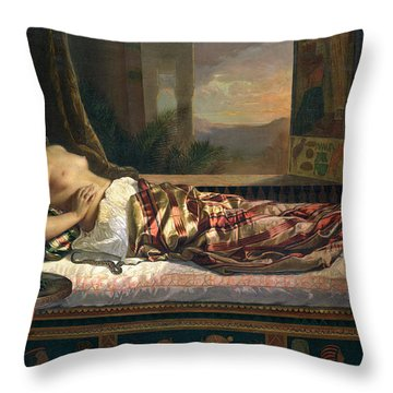 The Death Of Cleopatra Throw Pillow by German von Bohn