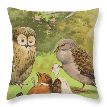 The Death Of Cock Robin Throw Pillow by English School