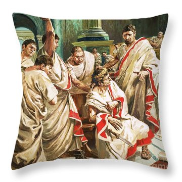 The Death Of Julius Caesar  Throw Pillow by C L Doughty