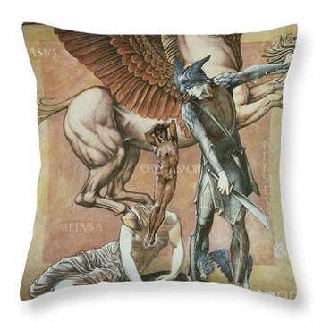 The Death Of Medusa I Throw Pillow by Edward Coley Burne-Jones