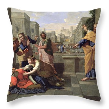 The Death Of Sapphira Throw Pillow by Nicolas Poussin