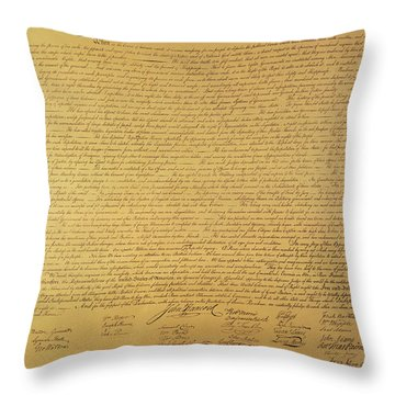 The Declaration Of Independence Throw Pillow by Founding Fathers