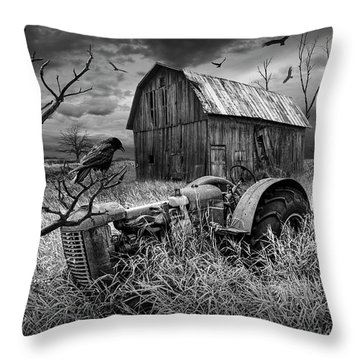 Throw Pillow featuring the photograph The Decline And Death Of The Small Farm In Black And White by Randall Nyhof